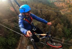 Bhaktapur Zipline and Sky Cycling: Ranikot Ghyampe Danda above Suryabinayak
