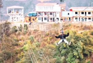 Zipline in Ghyampe Danda above Bhaktapur (Suryabinayak Municipality)- the outskirt of the Kathmandu Valley