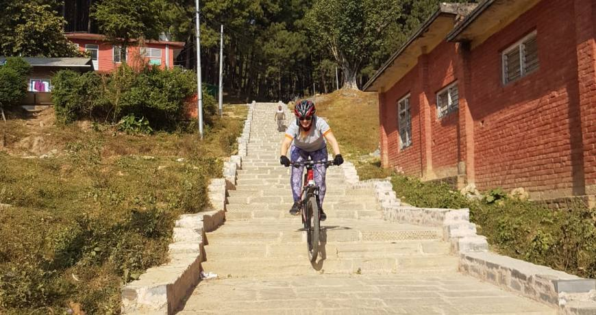 Downhill step route from Nagarkot Mountain Bike Tour