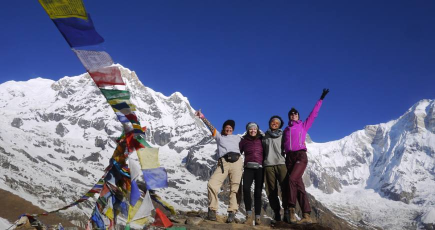 Happy faces @Annapurna Base Camp-4130 meters (Booking WhatsApp: +977 9851159455)