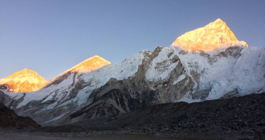 Sunset view over Mt. Everest and the neighboring peaks