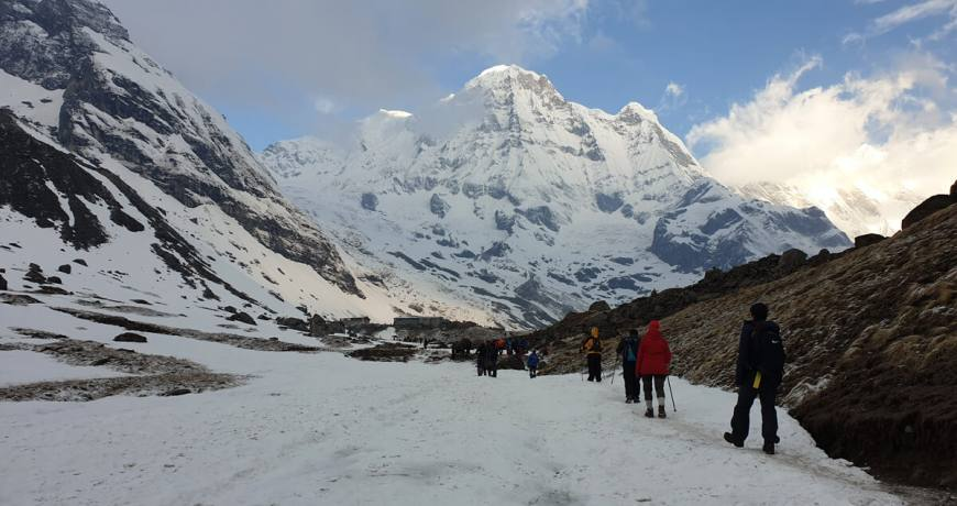 Trekkers arrived at Annapurna Base Camp-4130 meters