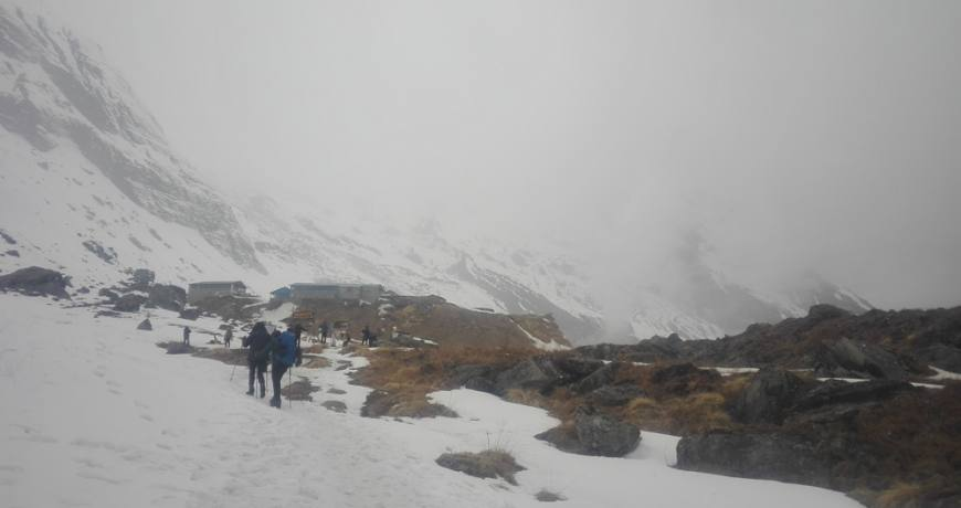 Snow Fall at Annapurna Base Camp