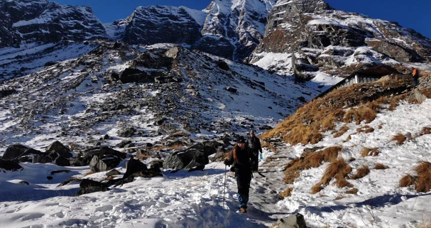 Trekkers heading to the Annapurna Base Camp