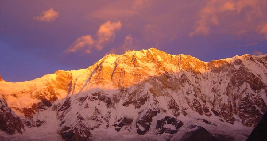 Golden sunrise over Mt. Annapurna.