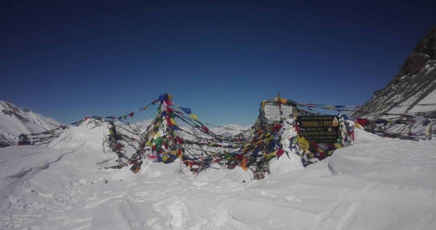 Heavy snow fall at Thorong La Pass route of Annapurna Circuit