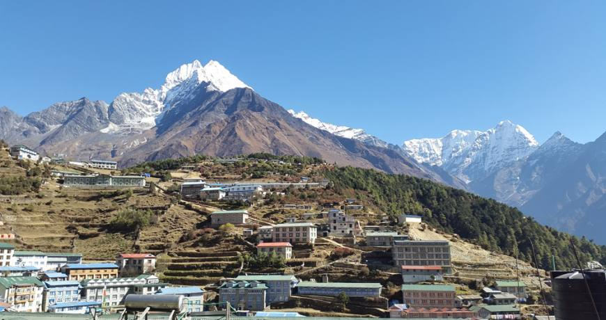 Namche Bazaar and the Everest Himalayas