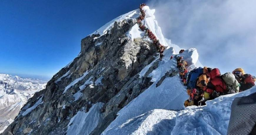 Mountaineers on the way to Everest Summit from South Side