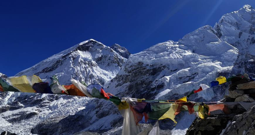 Mt. Everest at the background and its surrounding