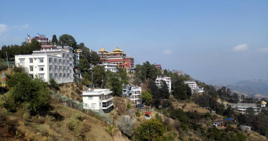 Namobuddha Monastery, located at the top of the hill