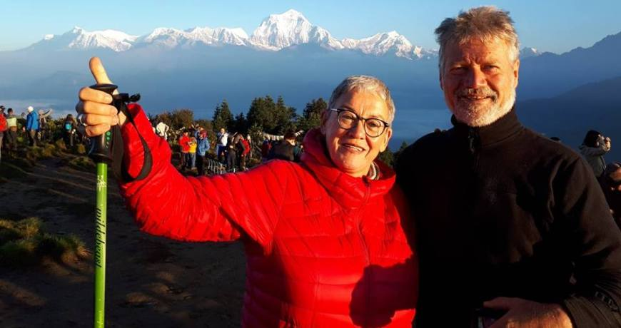 Amazing view from Poon Hill: Our valued guests at 3210 meters altitude