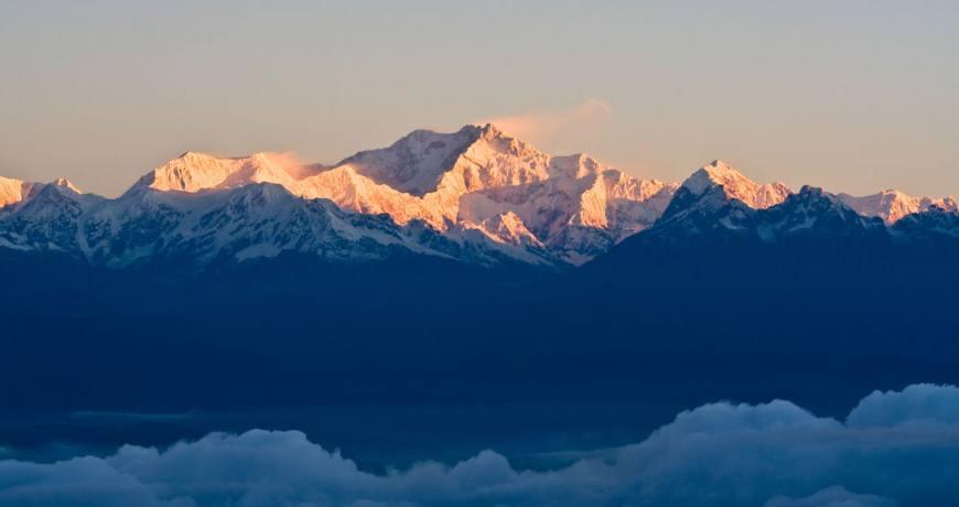 Mt. Kanchenjunga and the neighboring peaks.