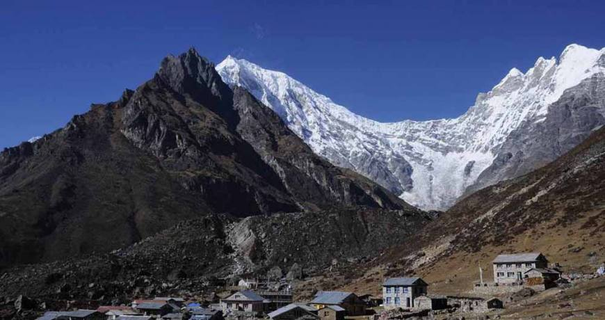 The stunning Langtang walled by the majestic white peaks