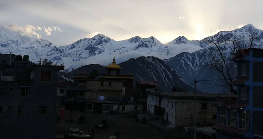 Muktinath region surrounded by the snowy peaks