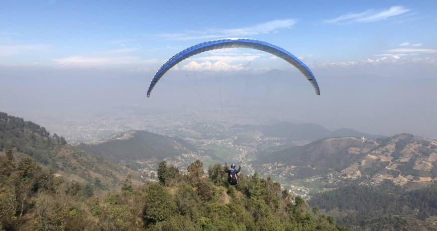 Paragliding from Ranikot Village, Bhaktapur (Pic: RSS/Nagarik)