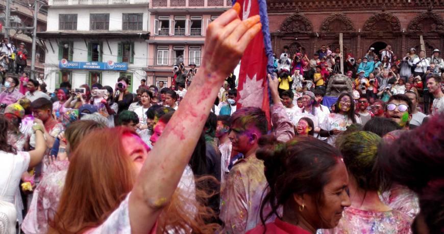 Happy Holi in Kathmandu Durbar Square