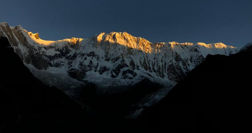 The golden sunrise view over the Himalayas